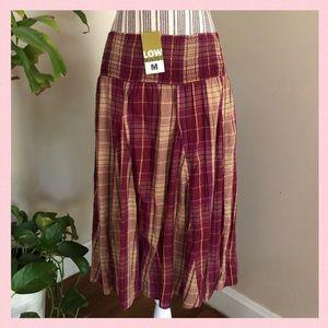 NWT Cotton Plaid Flowy Skirt